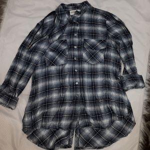 Zipper Shoulder Button Down Grunge Shirt Top M
